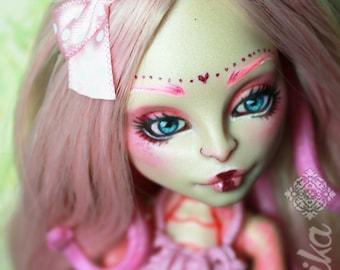 Monster high repaint OOAK Nude doll Viperine Gorgon