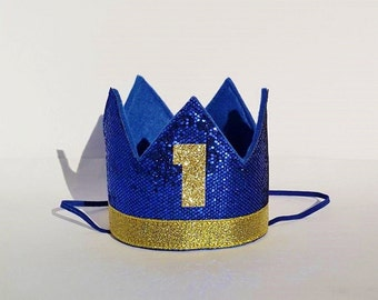 Baby Boy First 1st Birthday Party Crown in Royal Blue and Gold Prince Theme Cake Smash Photo Prop Hat