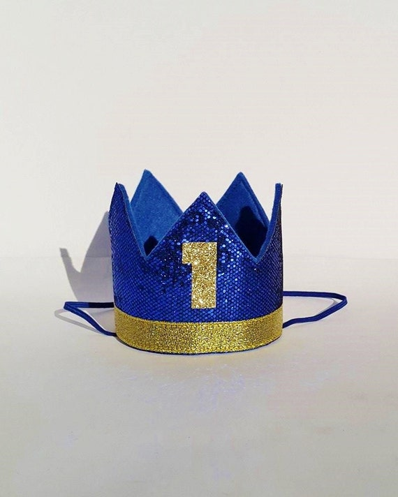First Birthday Boy Boy Birthday Crown Boy Birthday: Baby Boy First 1st Birthday Party Crown In Royal Blue And Gold