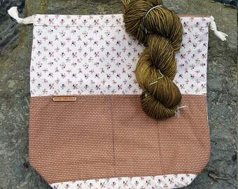 large reversible drawstring project bag for knitting, crochet, in vintage print