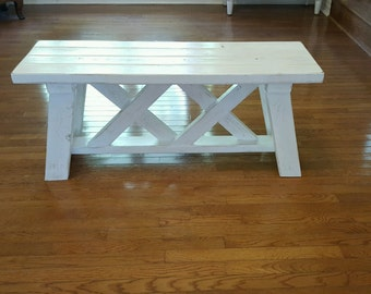 Double X White distressed bench