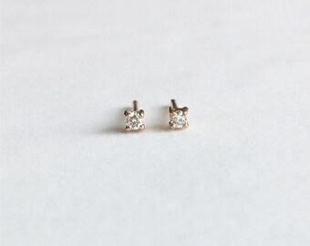14K Gold Earrings, White Diamond Yellow Gold Earrings, Shining White Diamond Earrings