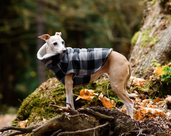 Medium* Italian Greyhound Grey Black Lumberjack Check Fleece Jacket. Dog Sweater. Sighthound. Dog Clothing. Italian Greyhound Clothing. Coat