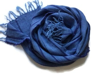 Ready to Ship, Linen scarf, Scarf with fringes, Autumn Trends, Blue Linen scarf, Linen shawl, Blue scarf, Pure linen shawl with stripes