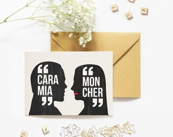 Cara mia mon cher. Morticia and Gomez. Valentine day card. Geek love. Creepy gothic. Anniversary card. Halloween card. Black is such a happy