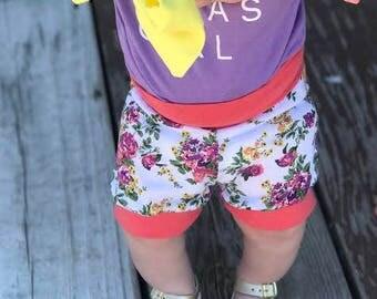 baby short - floral short - toddler short - shorties