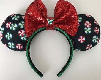 Disney Inspired Peppermint Christmas / Holiday Minnie Mouse Ears