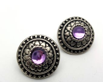 Clip On Silver Tone Plastic with Purple Faux Rhinestone Round Stud Earrings Vintage 80s Fashion Lightweight Simple Adorned Flower