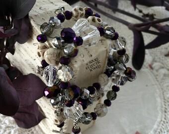 Bracelet Set Skulls Crystals Goth Punk Day of the Dead Cross Roses Purple Siler Clear Howlite Skulls Stretch Bracelet Stack Bracelets Grunge