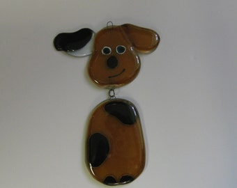 Cute Dog, handmade glass suncatcher