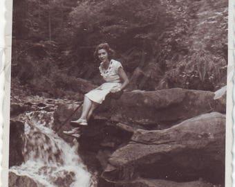 Vintage Photo - Magic beauty - Woman photo - River landscape - Vintage Snapshot - Polish Photo - 1950s photo - Forest photo - Stones - Rock
