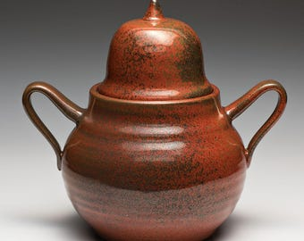 Glazed Hand Thrown Stoneware Ornamental Pot, Pottery Jar, Lidded Ceramic Vessel.