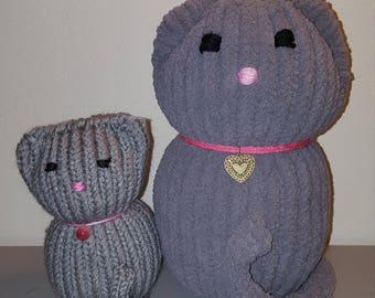 Loom Knit Kitty - Big Kitty - Loom Cat - Stuffed Loom Cat - Cat Lover - Cat Home Decor - Knitted Cat - Knitted Kitty - Large Decorative Cat