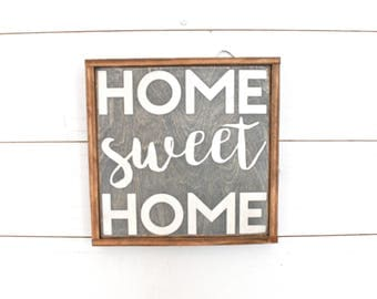 Home sweet home handmade wooden sign- farmhouse sign- rustic sign- housewarming gift- vintage sign- wall hanging- custom sign- home decor