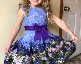 Fairy garden dress size 5 with coordinating headband./cotton garment/silver sparkle/stars