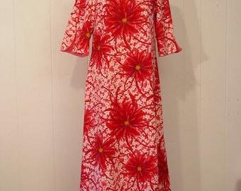 Vintage dress, Hawaiian dress, 1960s dress, Tiki dress, large