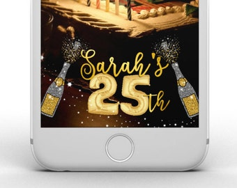 Custom Snapchat Birthday Geofilter | For ANY age! Choose from Gold, Silver, Pink, Rose Gold Balloon Numbers & Matching Text!