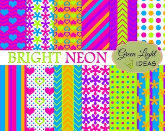 Bright Neon Party Digital Paper Pack, Neon Digital Papers, Party Birthday Printable Papers, Neon Backgrounds, Party Digital Textures