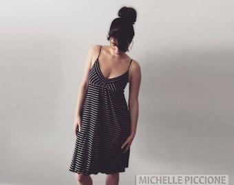 Black Dress with Spaghetti Straps and White Pin Stripes Bubble Hem 90s
