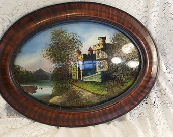 Antique Reverse Painted Irish Castle, Vintage Reverse Painting in Tigerwood Frame, Tiger Wood Frame, Bubble Glass Painting Irish