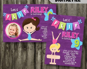 Gymnastics Birthday Invitation // Digital Invitation // Girls Birthday // Photo Birthday Invitation // Gymnastics Birthday Party
