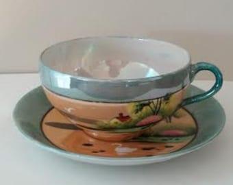 Beautiful Lusterware Teacup - Hand Painted Lusterware - Hand Painted Teacup - Made in Japan