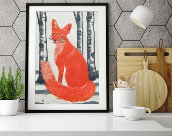 Fox Linocut Print, fox wall art, fox art print, fox animal wall art, fox art, fox poster, fox print, cute fox wall art, silver birch, winter