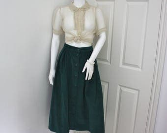 Green corduroy skirt, needle cord skirt, 80's cord skirt, corduroy midi skirt, vintage cord skirt, green skirt, large size