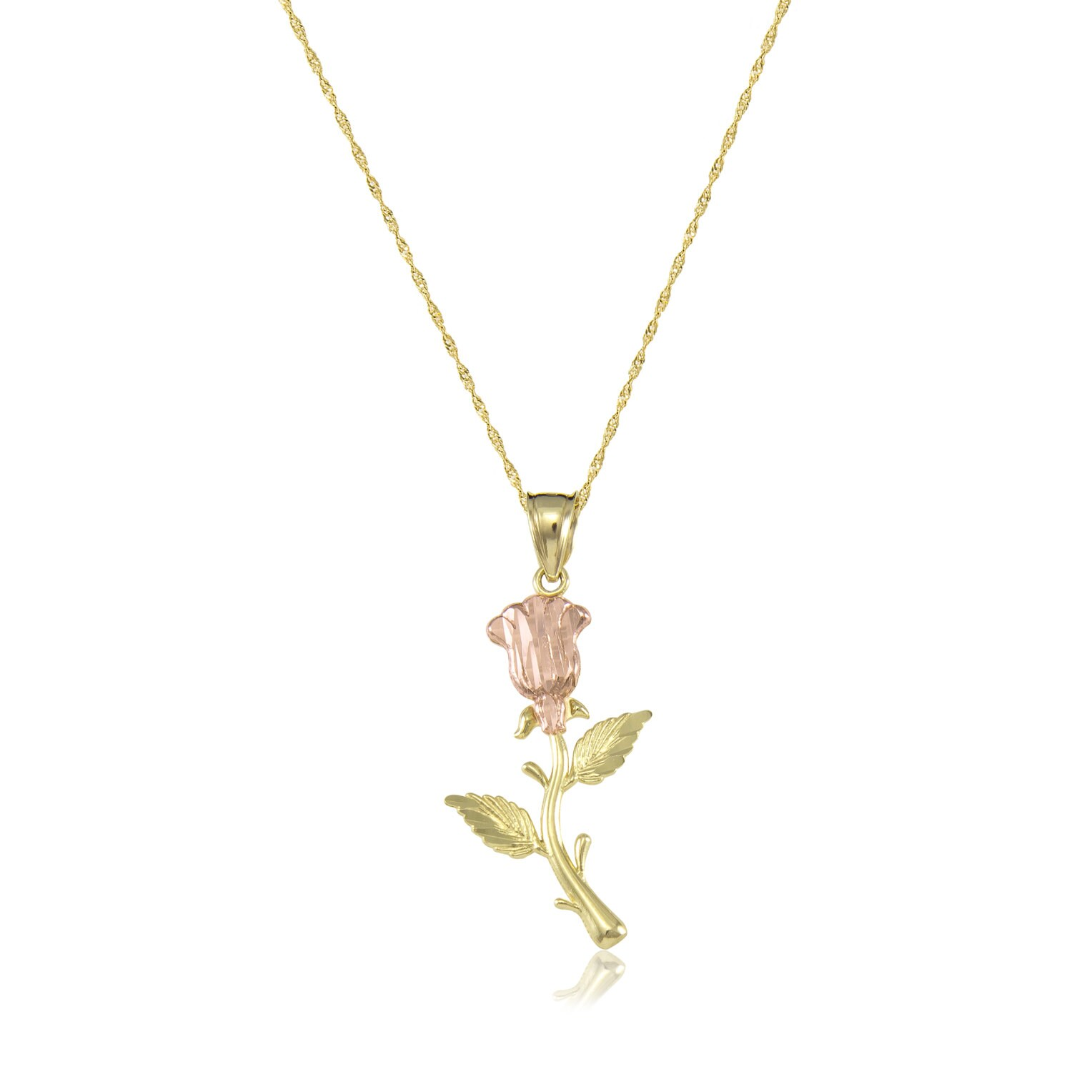 14k solid yellow rose gold rose pendant singapore chain necklace 14k solid yellow rose gold rose pendant singapore chain necklace set flower charm mozeypictures Images