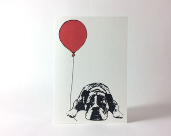 Bulldog Silhouette Holding A Red Balloon - Just Because Card - Birthday Card - Thank you Card