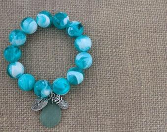 Sea Green Bead Charm Bracelet