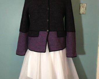 Purple sweater, wool sweater, cardigan sweater, color block sweater