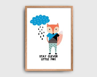 Stay Clever Little Fox Rain Cloud Scandinavian Woodland Children's Wall Art Printable: INSTANT DOWNLOAD