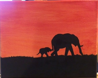 Mama and baby elephant painting