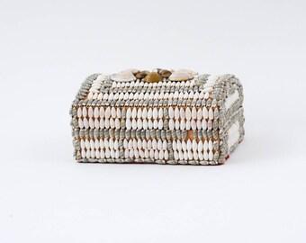 vintage shell box | seashell keepsake box | beach home decor | west coast decor | trinket box | desk organizer