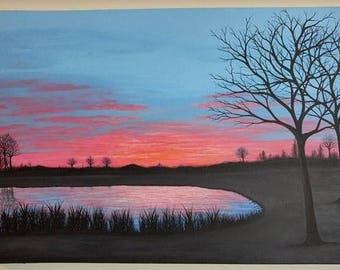 Sunrise Painting Tree Art On Canvas Sunset Clouds Serene Park Setting Pink Blue Black Calm Water Reflections Original Artwork Wall Decor
