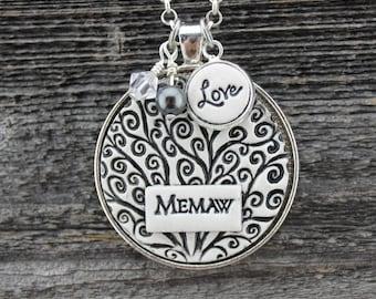 Memaw Handmade Pottery Necklace