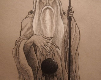 Saruman, lotr, lord of the rings, tolkien, white wizard, istari, original art, palantir, fantasy, fantasy art