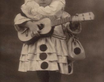 Lovely Columbine Playing Melancholic Music for Pierrot…1920s Original Vintage Italian RARE Real Photo Postcard RPPC…Carnival Studio Portrait