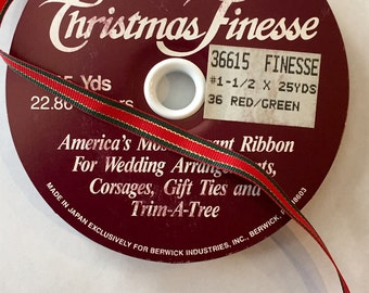 "ONE 25 YD ROLL Grosgrain 1/4"" Red Green Shiny-Gold Stripped Ribbon from Berwick Ind. Elegant for Wedding Bouquet Corsage Gift-Ties Tree-Trim"