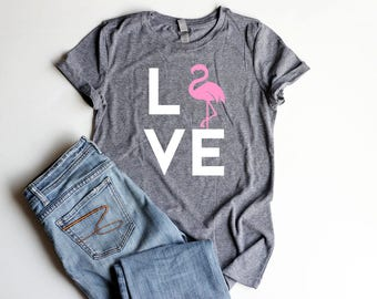 Flamingo LOVE Shirt Junior Fitted Pink Flamingo Party Shirts Bachelorette Flamingle Shirt Women Be a Flamingo Summer Shirt Women Cute Shirt