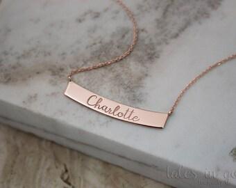 Rose Name Necklace, Rose Gold Bar, 9K Gold Necklace, Rose Gold, Wish Necklace, Personalized Gift, Engraved Bar, 14K Mom Gift, Custom Name