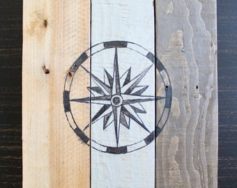 Rose of winds on reclaimed wood. Compass. Rustic style. 10.25 x 14.5 inches.