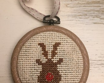 Cross stitched Rudolph Christmas bauble decoration small