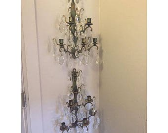 Antique Brass and Crystal Traditional Candlestick Sconces - Pair