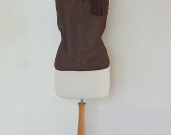 "Halter Top, Brown Trasparent Mousseline, Turtleneck that Ties on the Side, Size L, XL , Made by ""Blacky Dress"" Berlin"