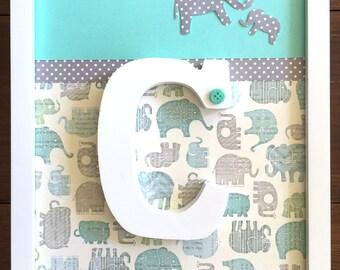 Elephant Nursery Decor: Framed Wooden Letter