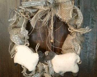 Burlap Wreath - Primitive - Rustic - Primitive Sheep - Jute - Fabric - Cotton Cord - Bows - Door Hanger - Wall Hanger - Wreath -