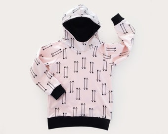 Pink hoodie for girls with black arrows