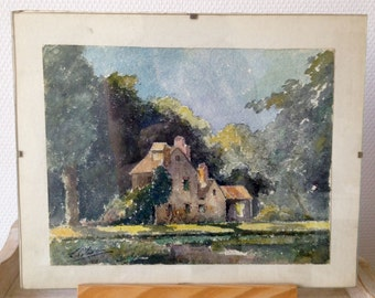 French watercolor, original signed vintage pastoral country scene painting water color country home